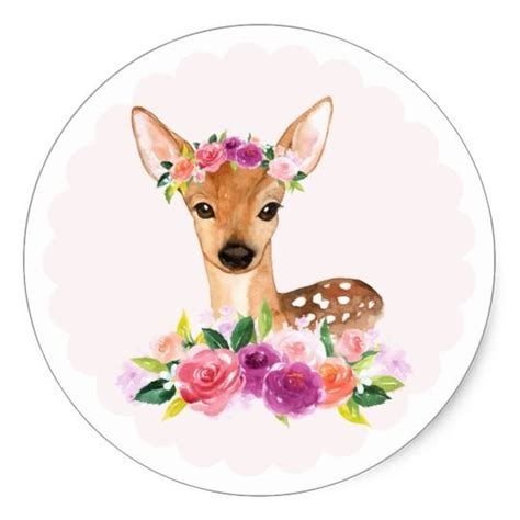 Watercolor Fawn with Floral Crown Sticker ekkor: 2020