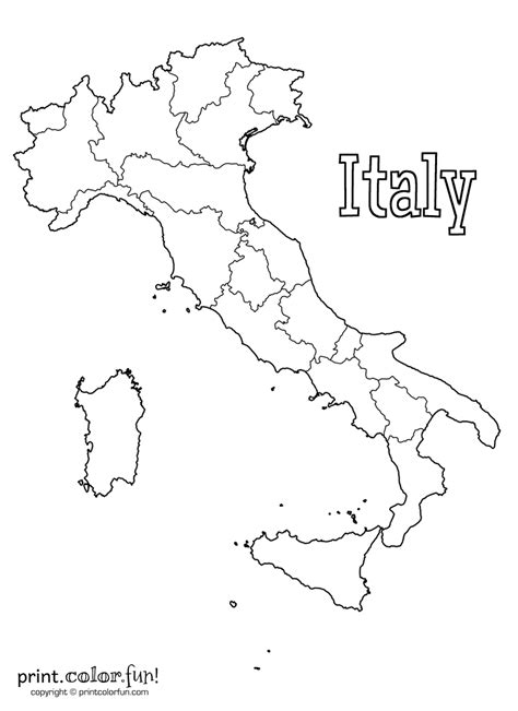 Blank map of Italy coloring page - Print