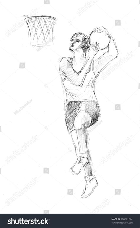 Pencil Drawing Of A Young Basketball Player With Ball