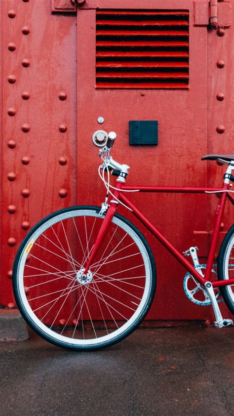 Bicycle Red Wall Wallpaper - [1440x2560]