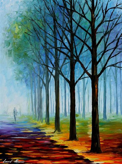 BLUE FOG — PALETTE KNIFE Oil Painting On Canvas By Leonid